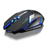 Rechargeable Wireless Silent LED Backlit USB Optical Ergonomic Gaming Mouse USA