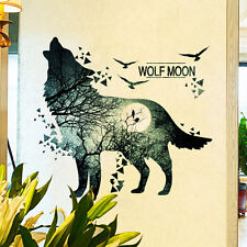 Howling Wolf and Moon Wall Sticker Decal Art Home Office Room Decor Removable