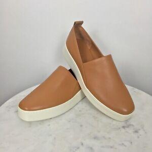 Vince Women's Saxon 2 Slip-On Sneaker NWOB Leather Brown Caramel