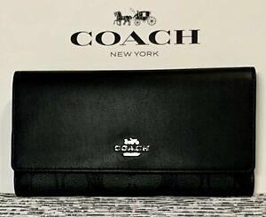 NEW Coach C5966 Signature Slim Trifold Wallet Black Smoke