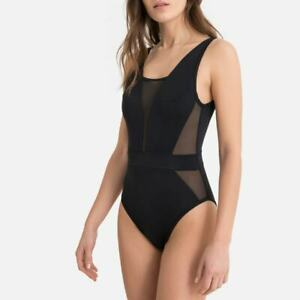 La Redoute Tulle Panel Swimsuit Size 14 Black GFW651