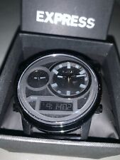 New in box Express Black Oversized Watch Retail: $248 Stainless Steel #1730 Gift