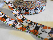 1m g/grain ribbon Halloween theme pumpkin cat witch make clips craft cake girl