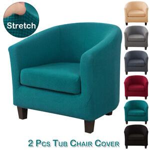 2 Pcs Kit Tub Chair Cover Pub Club Sofa Shield Fitted Single Armchair Slipcover