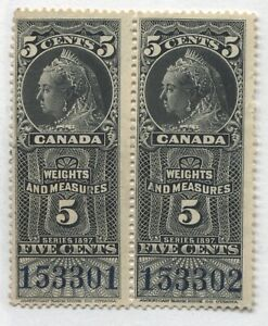 Pair of QV 5 cents Weights & Measures stamps with no gum