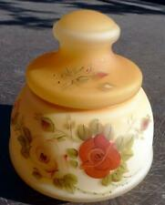 Satin Glass Biscuit Jar Painted Roses
