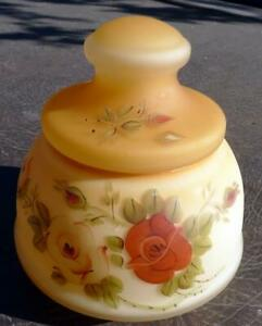 RARE Biscuit Jar Satin Glass Hand Painted Roses Vintage