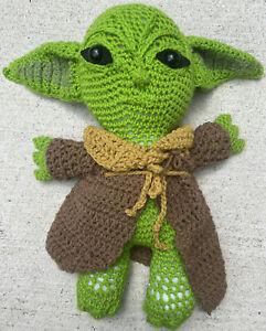 "Baby Yoda Inspired Hand Crocheted Plush Doll Animal 18"" Tall ~ 20"" Ear Tip Span"