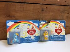 "Vintage 80s Kenner Care Bears 2"" PVC Toy NIP LOT OF 2 BEDTIME & BIRTHDAY BEAR"