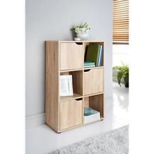 6 Cube 3 Door Shelves for Storage Books Shelving - Toys Oak Finish