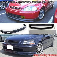 Mu-gen Style Front Bumper Lip + TR Style Grill (Mesh) Fit 96-98 Honda Civic 2dr