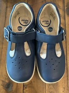 Stride Rite Toddler 9 New NIB Mary Jane Sneakers Loafer Navy Blue Buckle
