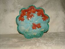 Dai Nippon JAPAN Hand Painted Scallop Edge BOWL Orange Leaves Water Lilies