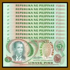 Philippines 5 Piso x 10 Pcs, 1978 P-160c Red Serial Number Unc