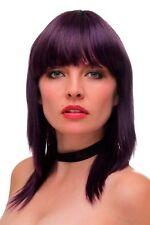 Peluca Mujer Flequillo hasta los Hombros Liso Oscuro Lila Violeta Azul Mezcla