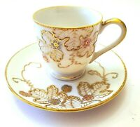 ANTIQUE OCCUPIED JAPAN SHOFU HAND PAINTED FOOTED DEMITASSE CUP & SAUCER SET