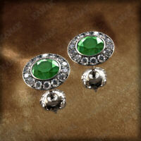 14K White Gold Fn 1.50 Ct Green Emerald & Diamond Halo Stud Earrings For Women's