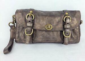 Coach Leather Legacy Oversize Garcia Clutch 12707 Bronze Wristlet Handbag