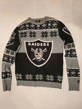 G4 NFL Oakland Raiders Logo Adult Black Football Ugly Christmas Sweater Size M