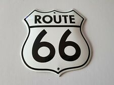 "RETRO ROUTE 66 SIGN WHITE PORCELAIN ENAMEL EMAILLE 4,8x6""/12x15cm SHIELD DESIGN"