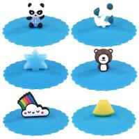 Heat Resistant Blue Silicone Cute Cup Cap Creative Cartoon Sealed Leakproof Lid