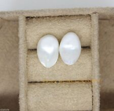Huge Baroque 10-11mm Natural Pearl  Studs Earring Silvery