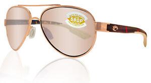 Costa Del Mar Loreto Rose Gold Tortoise Copper Silver Mirror 580 Plastic Lens