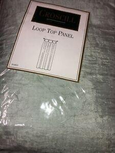 "2 CROSCILL Loop Top Curtain Crepe Panel Unlined Celery 41""X 84"" 0866/084"