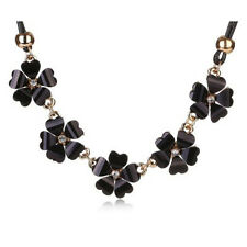 Trendy Black Jewellery~Contemporary Black Flower Statement Strand Necklace Chain
