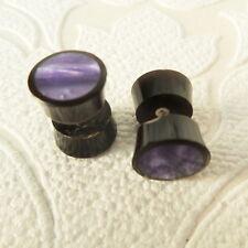 Purple Resin Inlaid in Wood Fake Gauge Earrings Faux Plugs Boho Organic Jewelry