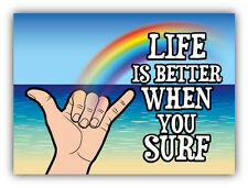 """Life Is Better When You Surf Rainbow Car Bumper Sticker Decal 5"""" x 4"""""""
