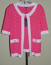 Misook Pink White Knit Short Sleeve Tailored Fit Jacket XL