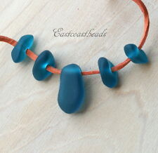 Large Hole, Free Form Nugget Set w/Focal Bead, Sea Glass Finish, Teal, 5 Pieces