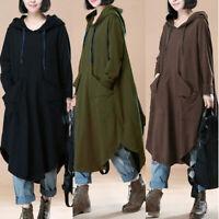 Mode Femme Sweat-shirt Robe à capuche Loose Manche Longue Irrégulièr Dresse Plus