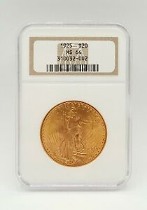 1925 St. Gaudens Gold Double Eagle $20 Coin - NGC MS64