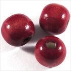 Set de 20 cuentas redondas de madera 12mm Rojo Burdeos