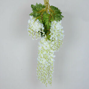 Artificial Hanging Wisteria Silk Flower Fake Vine Plant Outdoor Wedding Decor UK
