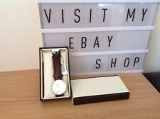 Daniel Wellington 0920DW Classy St Mawes Silver & Brown Leather Watch - RRP £119