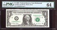 2003 $1 Federal Reserve Note with Fancy NEAR SOLID Serial #E88888824I PMG 64