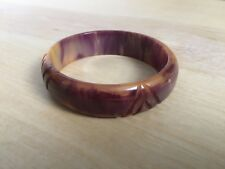 Rare Vintage Bakelite True PURPLE & Mango Marbled Carved Bracelet Bangle Tested