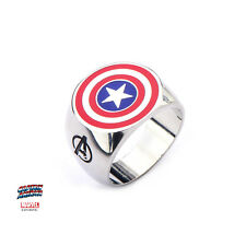 $40 CAPT AMERICA MARVEL COMICS INSIGNIA RING Stainless Steel Size 10 MOVING SALE