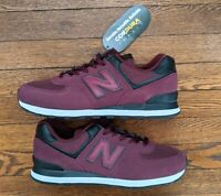 Men's New Balance 574 Burgundy Cordura Fabric Size 11 2E Running Shoes ML574ECD