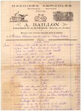 """FRESNAY-L'EVEQUE (28) MARECHALERIE SERRURERIE, MACHINES AGRICOLES """"BAILLON"""" 1925"""