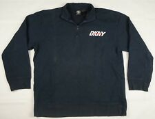 Rare Vintage DKNY Jeans New York Spell Out 1/4 Zip Sweatshirt 90s Retro Black L