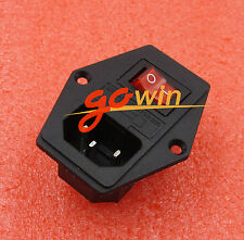 Black Red 3 Terminal Power Socket with Fuse Holder AC 250V 10A