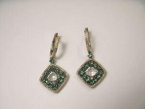 Beautiful 14K Yellow Gold Green Amethyst Diamond Tsavorite Drop Dangle Earrings