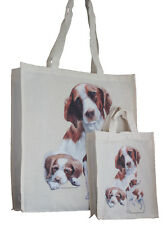 More details for brittany spaniel dog adult & child shopping or dog treats packed lunch tote bag