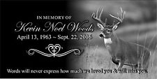 "Personalized human Stone Memorial Plaque 6"" x 12"" Headstone Deer Hunting marker"