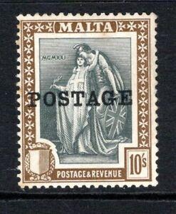 Malta 1926  (Optd Postage) 10s. Slate Grey & Brown SG156 LM/Mint