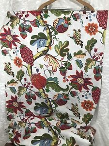 Pottery Barn 2008 COTTON LINEN BLEND Fabric SHOWER CURTAIN Large Bright Floral